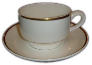 Catering Equipment Hire - Wedgwood Bone china cup and saucer with two gold bands for hire